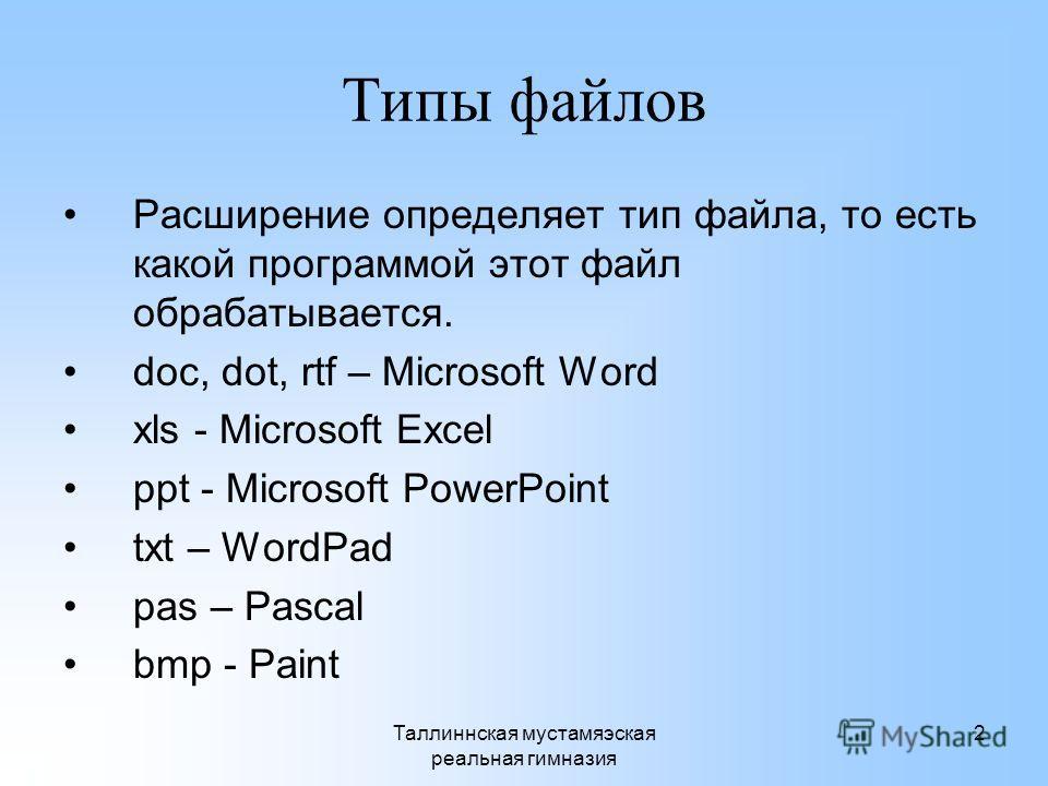 Таллиннская мустамяэская реальная гимназия 2 Типы файлов Расширение определяет тип файла, то есть какой программой этот файл обрабатывается. doc, dot, rtf – Microsoft Word xls - Microsoft Excel ppt - Microsoft PowerPoint txt – WordPad pas – Pascal bm