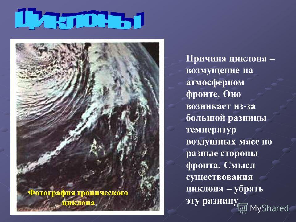 Фотография тропического циклона Причина циклона – возмущение на атмосферном фронте. Оно возникает из-за большой разницы температур воздушных масс по разные стороны фронта. Смысл существования циклона – убрать эту разницу