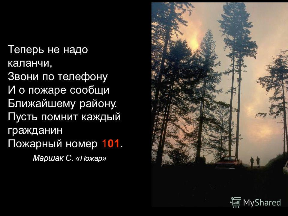 В случае возникновения пожара, нужно действовать следующим образом: 1. Обнаружив пожар, позвони в пожарную службу по номеру - 101 101