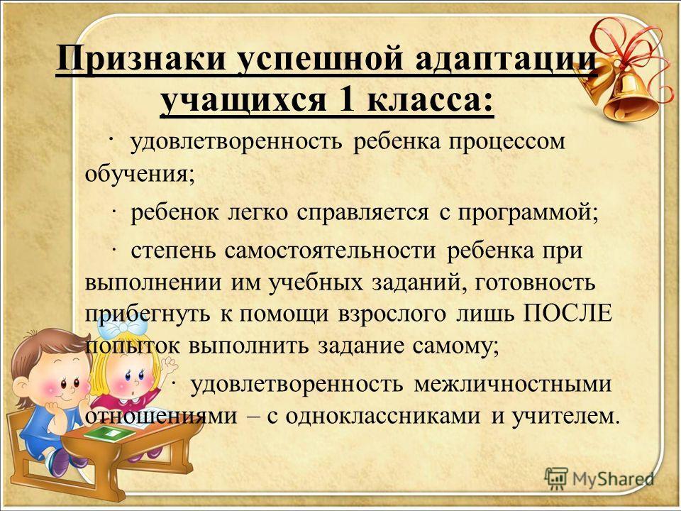 · удовлетворенность ребенка процессом обучения; · ребенок легко справляется с программой; · степень самостоятельности ребенка при выполнении им учебных заданий, готовность прибегнуть к помощи взрослого лишь ПОСЛЕ попыток выполнить задание самому; · у