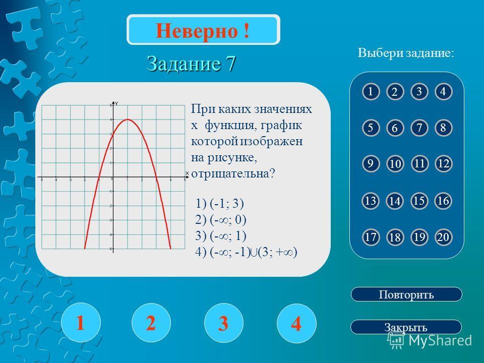 Задание 7 1 2 3 4 Повторить Закрыть Верно ! 1 2 43 5 6 87 9 10 1211 13 14 15 17 18 2019 Выбери задание: Неверно ! 16 При каких значениях х функция, график которой изображен на рисунке, отрицательна? 1) (-1; 3) 2) (-; 0) 3) (-; 1) 4) (-; -1) (3; +)