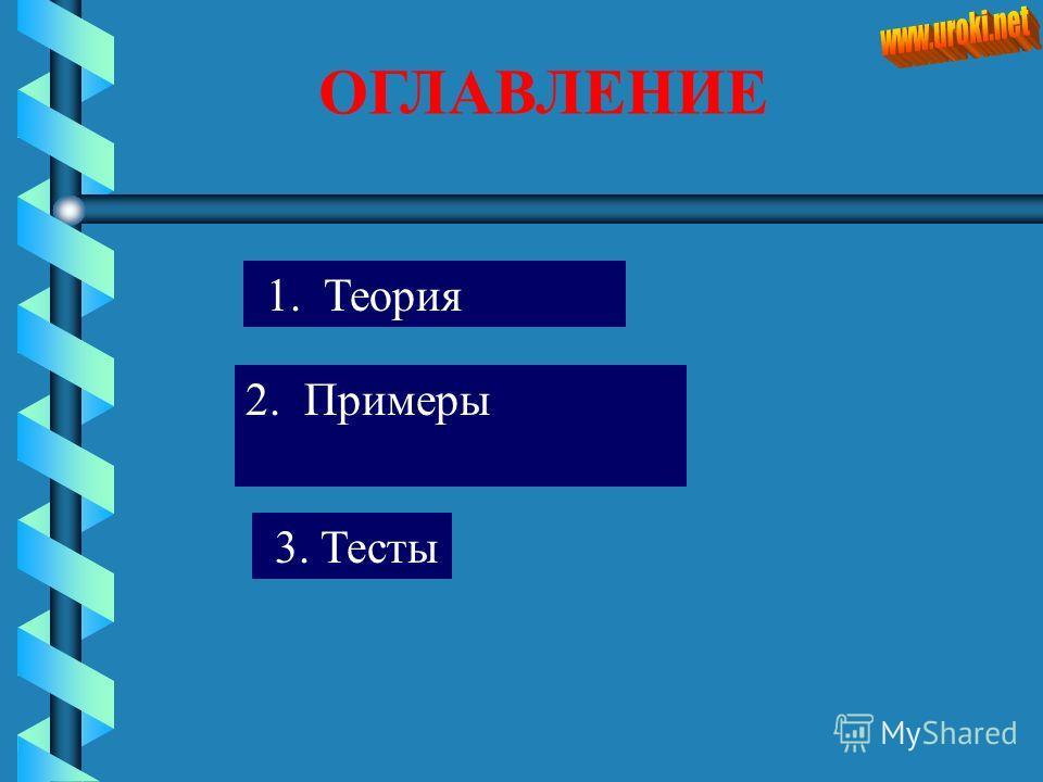 ОГЛАВЛЕНИЕ 1. Теория 3. Тесты 2. Примеры