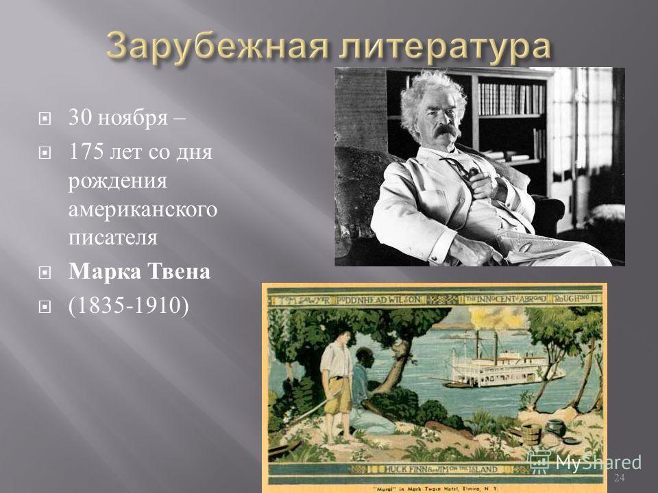 Памятные даты 2010/2011 24 30 ноября – 175 лет со дня рождения американского писателя Марка Твена (1835-1910)