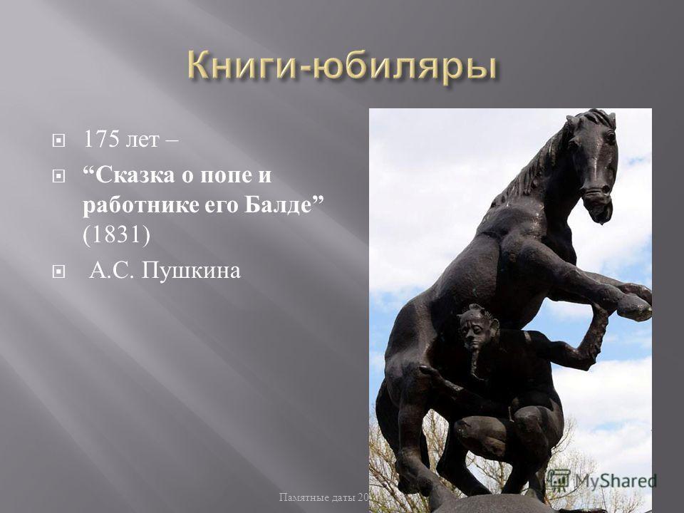 Памятные даты 2010/2011 52 175 лет – Сказка о попе и работнике его Балде (1831) А. С. Пушкина