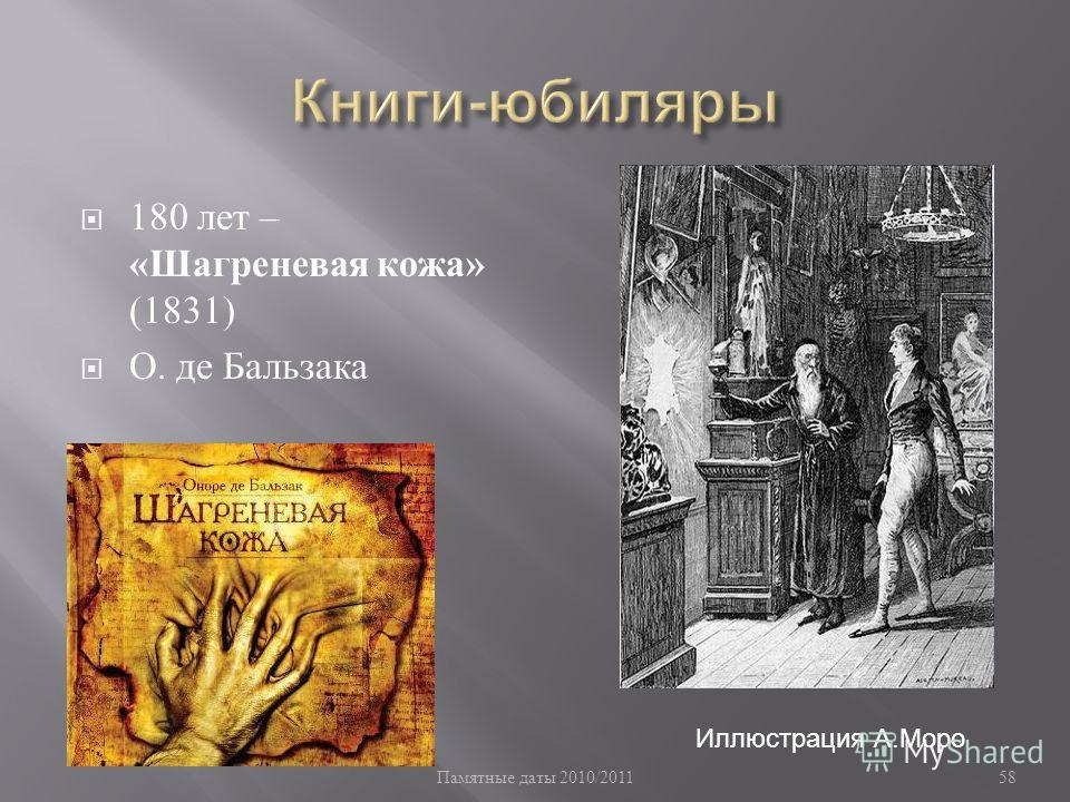 Памятные даты 2010/2011 58 180 лет – « Шагреневая кожа » (1831) О. де Бальзака Иллюстрация А.Моро