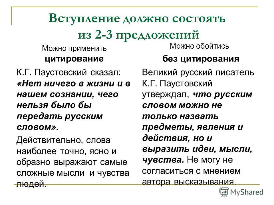 Вступление должно состоять из 2-3 предложений Можно применить цитирование К.Г. Паустовский сказал: «Нет ничего в жизни и в нашем сознании, чего нельзя было бы передать русским словом». Действительно, слова наиболее точно, ясно и образно выражают самы