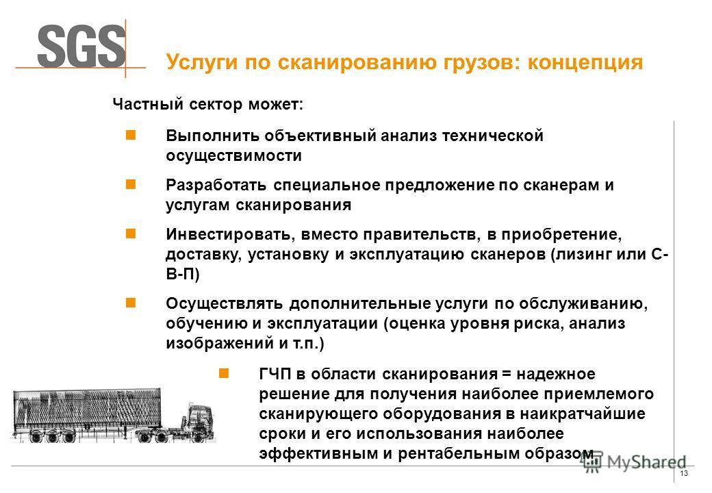 13 Услуги по сканированию грузов: концепция Выполнить объективный анализ технической осуществимости Разработать специальное предложение по сканерам и услугам сканирования Инвестировать, вместо правительств, в приобретение, доставку, установку и экспл
