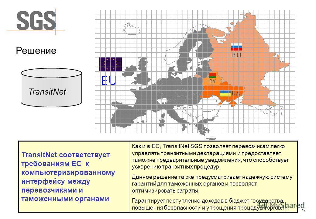 19 Решение TransitNet TransitNet соответствует требованиям ЕС к компьютеризированному интерфейсу между перевозчиками и таможенными органами Как и в ЕС, TransitNet SGS позволяет перевозчикам легко управлять транзитными декларациями и предоставляет там