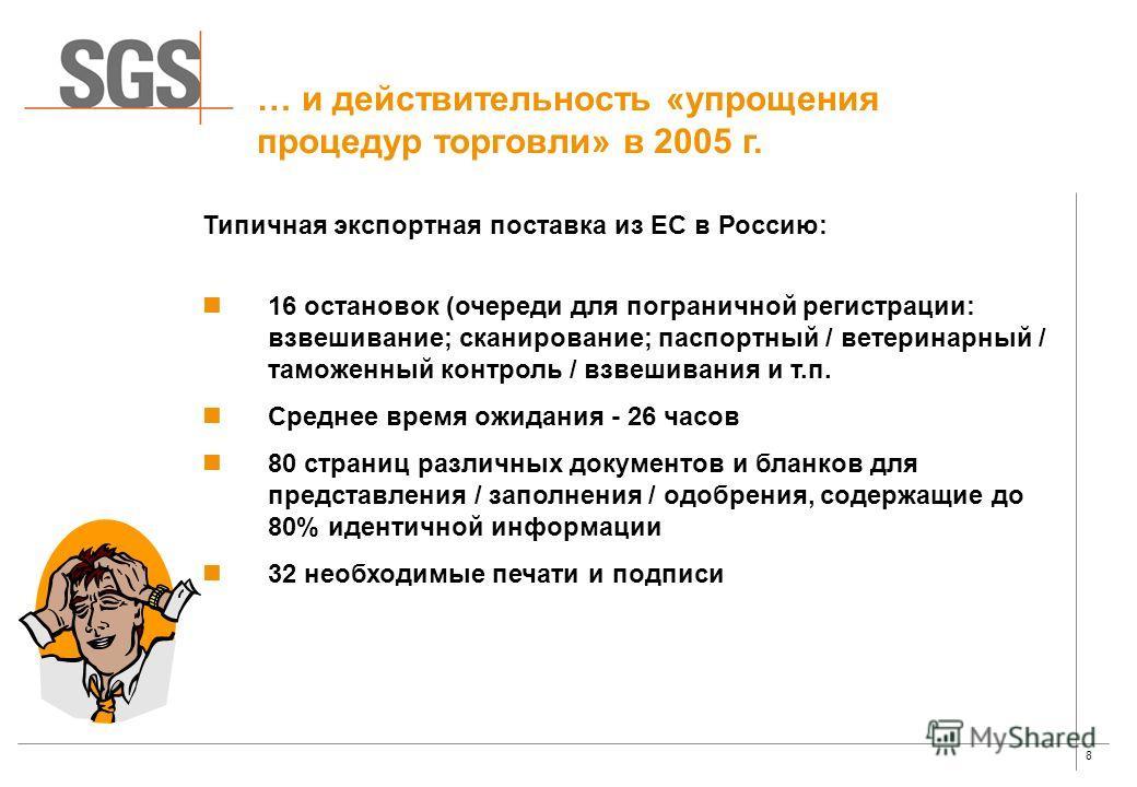 8 … и действительность «упрощения процедур торговли» в 2005 г. 16 остановок (очереди для пограничной регистрации: взвешивание; сканирование; паспортный / ветеринарный / таможенный контроль / взвешивания и т.п. Среднее время ожидания - 26 часов 80 стр