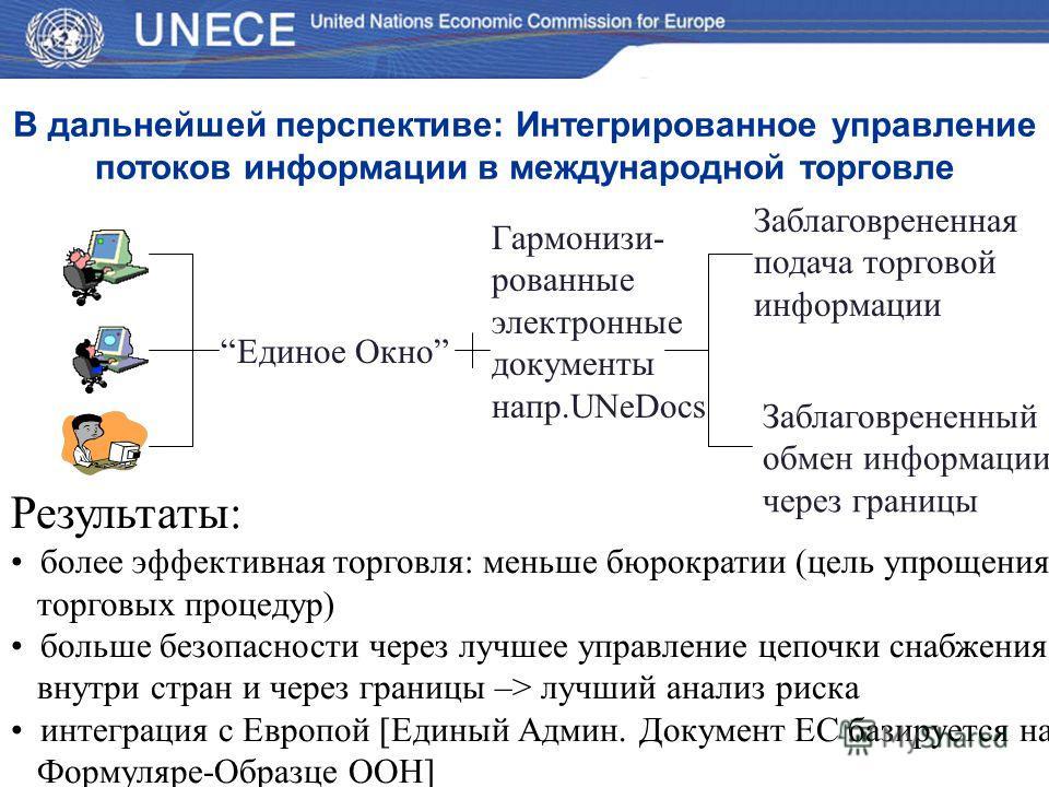 Результаты: более эффективная торговля: меньше бюрократии (цель упрощения торговых процедур) больше безопасности через лучшее управление цепочки снабжения внутри стран и через границы –> лучший анализ риска интеграция с Европой [Единый Админ. Докумен