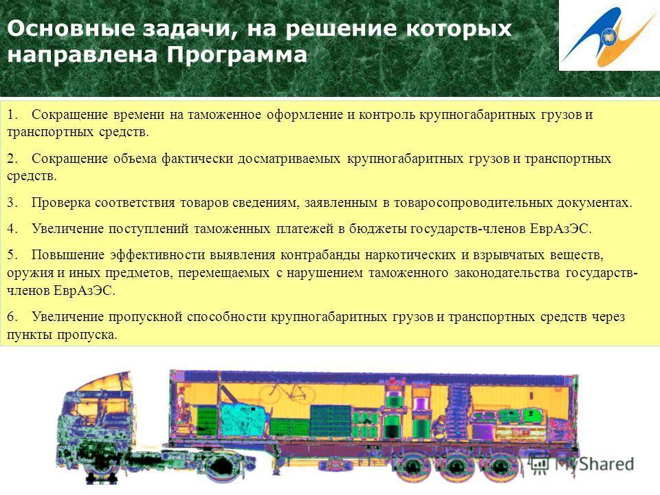 Основные задачи, на решение которых направлена Программа 1.Сокращение времени на таможенное оформление и контроль крупногабаритных грузов и транспортных средств. 2.Сокращение объема фактически досматриваемых крупногабаритных грузов и транспортных сре