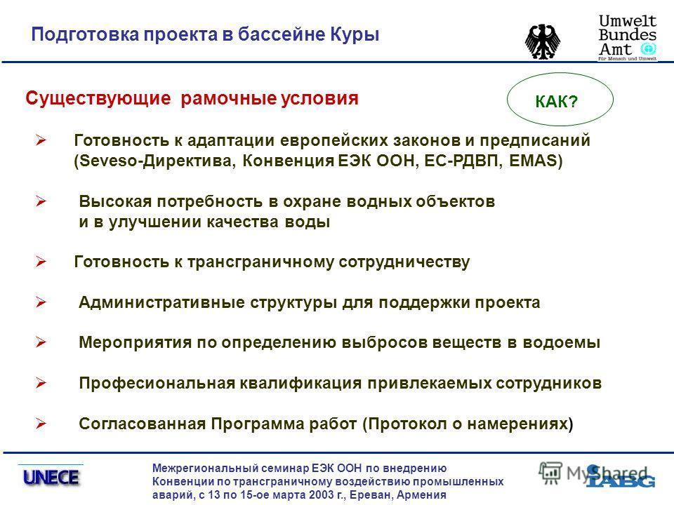 Подготовка проекта в бассейне Куры Межрегиональный семинар ЕЭК ООН по внедрению Конвенции по трансграничному воздействию промышленных аварий, с 13 по 15-ое марта 2003 г., Ереван, Армения Существующие рамочные условия Готовность к адаптации европейски