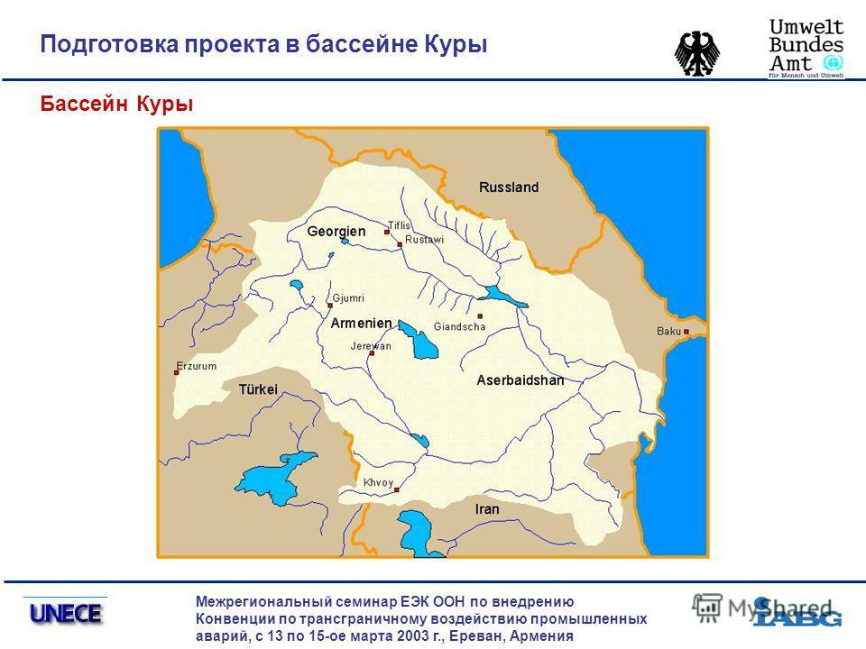 Подготовка проекта в бассейне Куры Межрегиональный семинар ЕЭК ООН по внедрению Конвенции по трансграничному воздействию промышленных аварий, с 13 по 15-ое марта 2003 г., Ереван, Армения Бассейн Куры