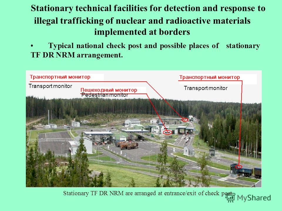 Stationary technical facilities for detection and response to illegal trafficking of nuclear and radioactive materials implemented at borders Typical national check post and possible places of stationary TF DR NRM arrangement. Stationary TF DR NRM ar
