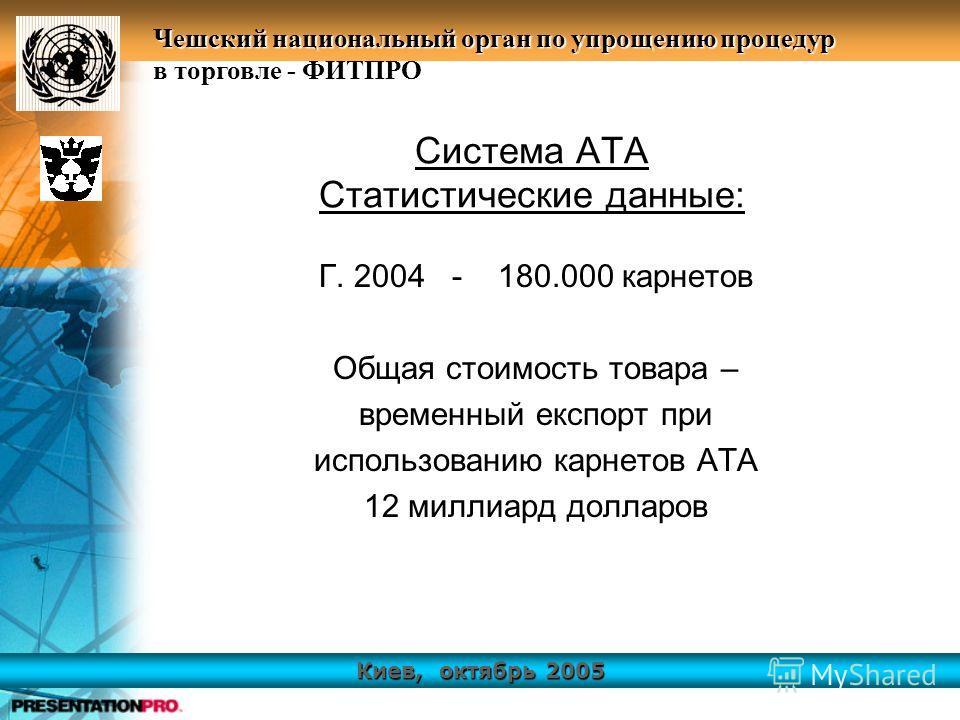 Киев, октябрь 2005 Чешский национальный орган по упрощению процедур в торговле - ФИТПРО Система АТА Статистические данные: Г. 2004 - 180.000 карнетов Общая стоимость товара – временный експорт при использованию карнетов АТА 12 миллиард долларов