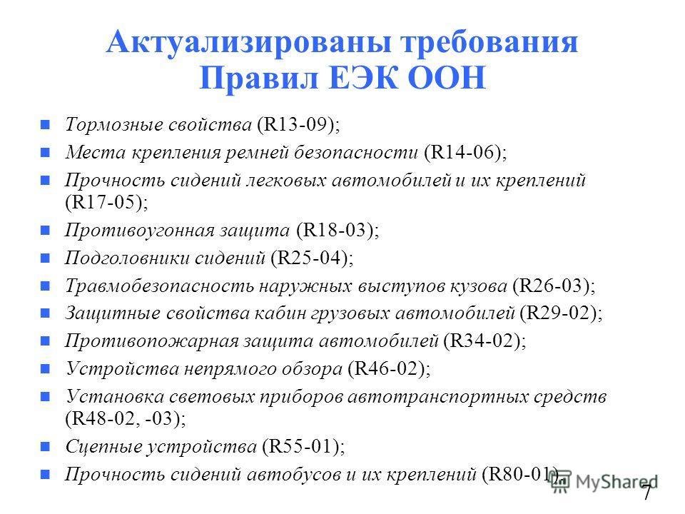 Актуализированы требования Правил ЕЭК ООН Тормозные свойства (R13-09); Места крепления ремней безопасности (R14-06); Прочность сидений легковых автомобилей и их креплений (R17-05); Противоугонная защита (R18-03); Подголовники сидений (R25-04); Травмо