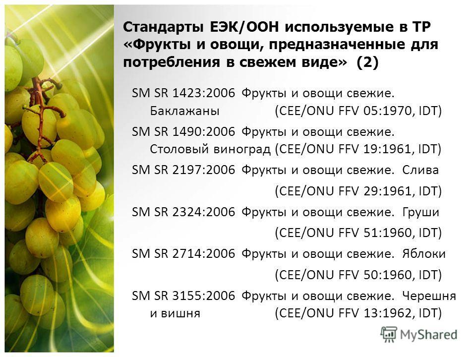 Стандарты ЕЭК/OОН используемые в ТР «Фрукты и овощи, предназначенные для потребления в свежем виде» (2) SM SR 1423:2006 Фрукты и овощи свежие. Баклажаны (CEE/ONU FFV 05:1970, IDT) SM SR 1490:2006 Фрукты и овощи свежие. Столовый виноград (CEE/ONU FFV
