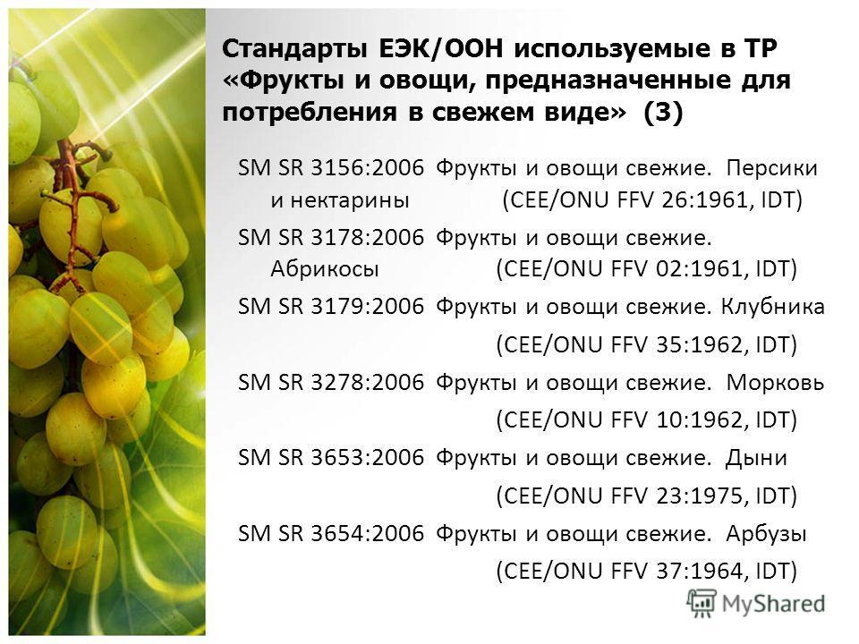 Стандарты ЕЭК/OОН используемые в ТР «Фрукты и овощи, предназначенные для потребления в свежем виде» (3) SM SR 3156:2006 Фрукты и овощи свежие. Персики и нектарины (CEE/ONU FFV 26:1961, IDT) SM SR 3178:2006 Фрукты и овощи свежие. Абрикосы (CEE/ONU FFV