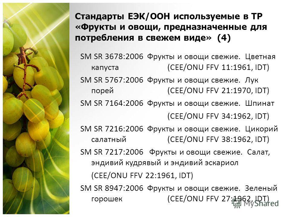Стандарты ЕЭК/OОН используемые в ТР «Фрукты и овощи, предназначенные для потребления в свежем виде» (4) SM SR 3678:2006 Фрукты и овощи свежие. Цветная капуста (CEE/ONU FFV 11:1961, IDT) SM SR 5767:2006 Фрукты и овощи свежие. Лук порей(CEE/ONU FFV 21: