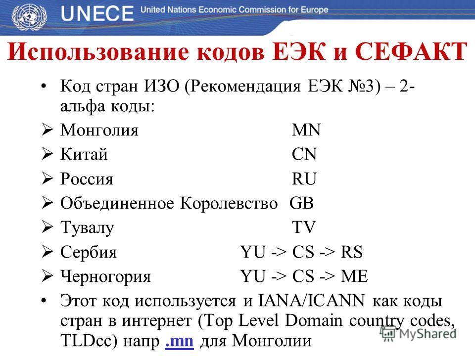 Использование кодов ЕЭК и СЕФАКТ Код стран ИЗО (Рекомендация ЕЭК 3) – 2- альфа коды: Монголия МN Китай CN Россия RU Объединенное Королевство GB Тувалу TV Сербия YU -> CS -> RS Черногория YU -> CS -> ME Этот код используется и IANA/ICANN как коды стра