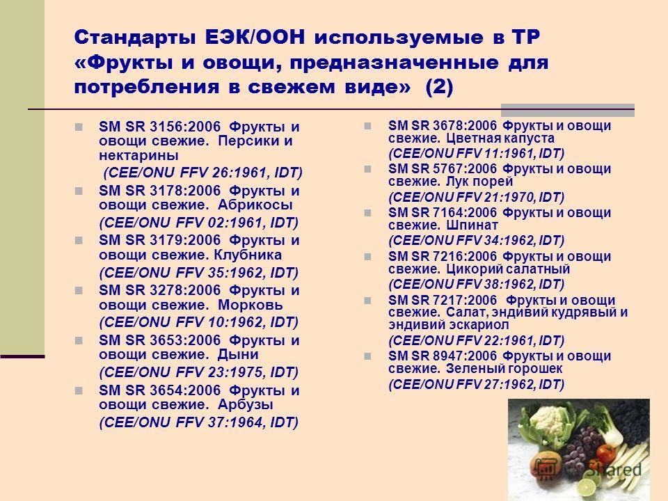 28 Стандарты ЕЭК/OОН используемые в ТР «Фрукты и овощи, предназначенные для потребления в свежем виде» (2) SM SR 3156:2006 Фрукты и овощи свежие. Персики и нектарины (CEE/ONU FFV 26:1961, IDT) SM SR 3178:2006 Фрукты и овощи свежие. Абрикосы (CEE/ONU