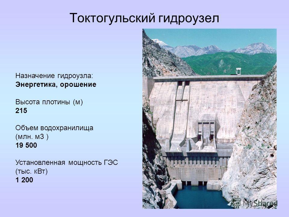 Токтогульский гидроузел Назначение гидроузла: Энергетика, орошение Высота плотины (м) 215 Объем водохранилища (млн. м3 ) 19 500 Установленная мощность ГЭС (тыс. кВт) 1 200