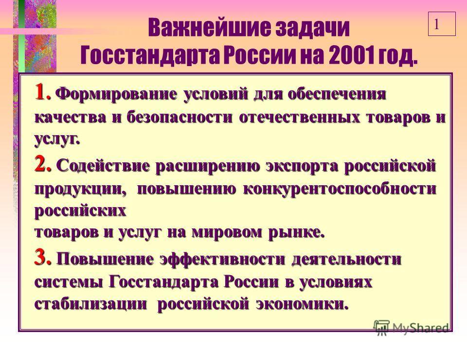 Важнейшие задачи Госстандарта России на 2001 год. 1. Формирование условий для обеспечения качества и безопасности отечественных товаров и услуг. 2. Содействие расширению экспорта российской продукции, повышению конкурентоспособности российских товаро