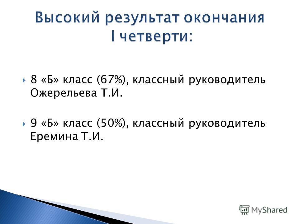 8 «Б» класс (67%), классный руководитель Ожерельева Т.И. 9 «Б» класс (50%), классный руководитель Еремина Т.И.