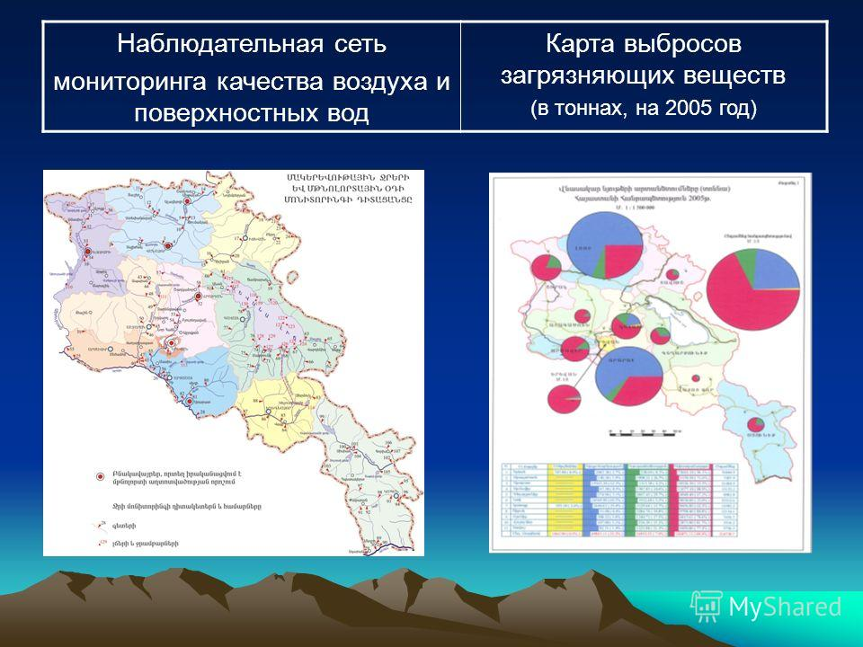 Наблюдательная сеть мониторинга качества воздуха и поверхностных вод Карта выбросов загрязняющих веществ (в тоннах, на 2005 год)