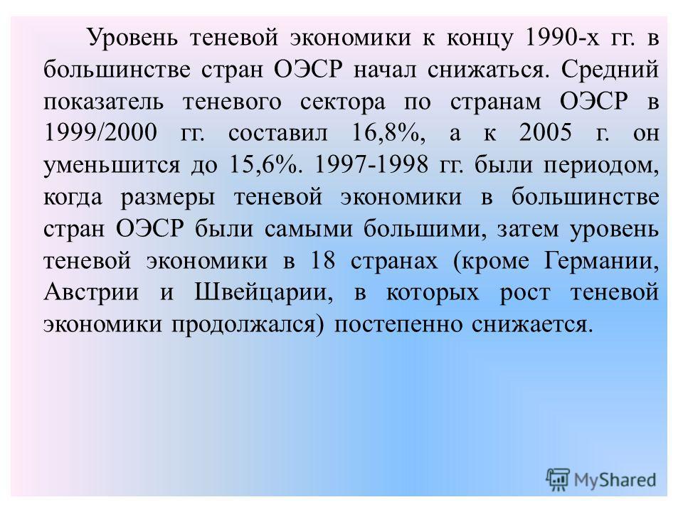 Уровень теневой экономики к концу 1990-х гг. в большинстве стран ОЭСР начал снижаться. Средний показатель теневого сектора по странам ОЭСР в 1999/2000 гг. составил 16,8%, а к 2005 г. он уменьшится до 15,6%. 1997-1998 гг. были периодом, когда размеры
