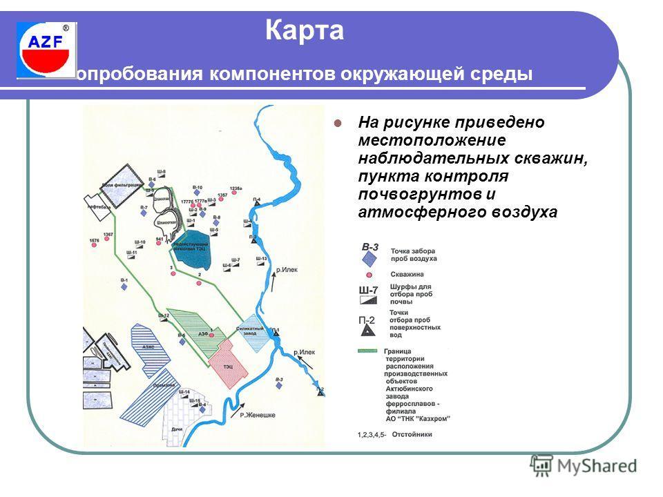 Карта опробования компонентов окружающей среды На рисунке приведено местоположение наблюдательных скважин, пункта контроля почвогрунтов и атмосферного воздуха