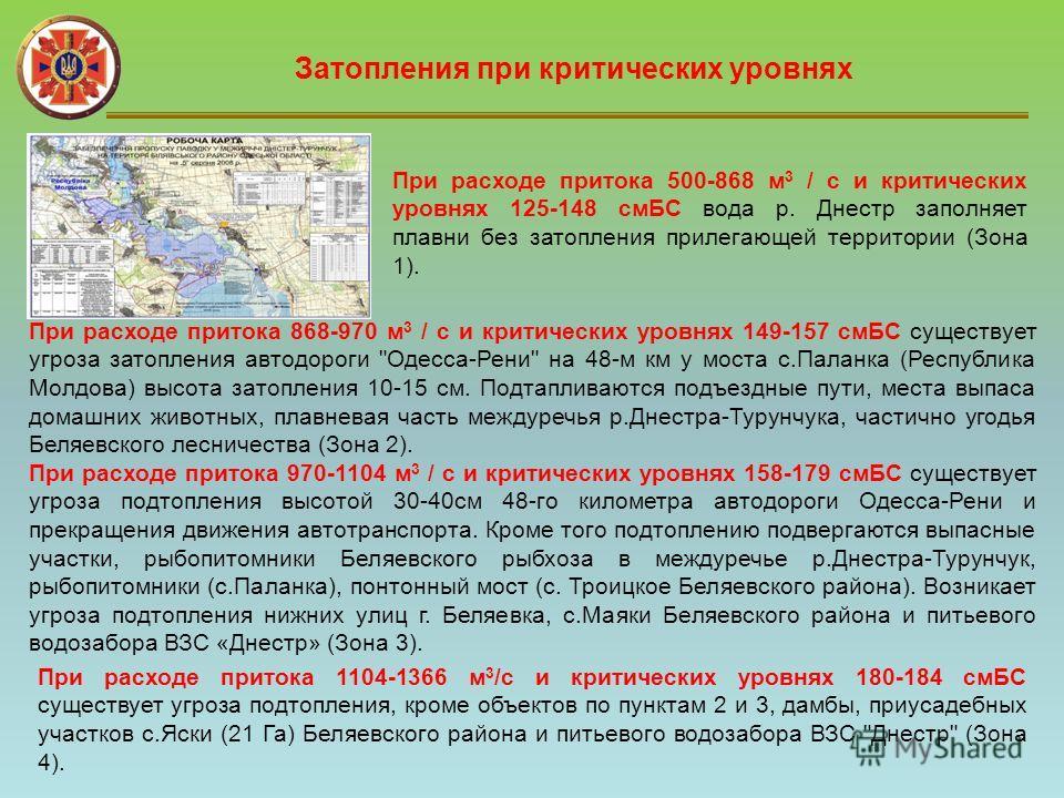 Затопления при критических уровнях При расходе притока 500-868 м 3 / с и критических уровнях 125-148 смБС вода р. Днестр заполняет плавни без затопления прилегающей территории (Зона 1). При расходе притока 868-970 м 3 / с и критических уровнях 149-15