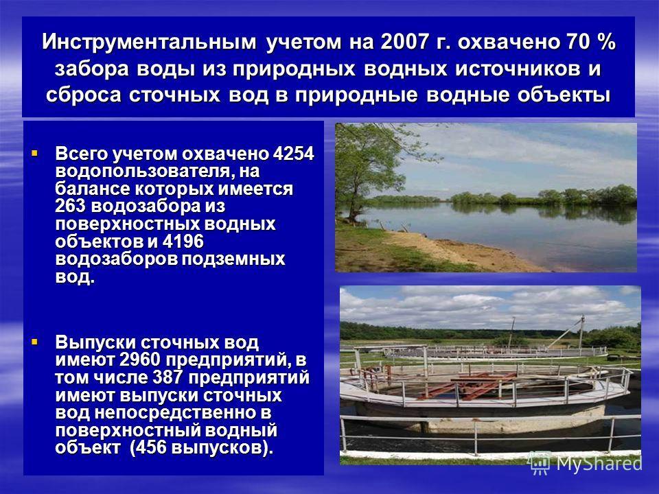 Инструментальным учетом на 2007 г. охвачено 70 % забора воды из природных водных источников и сброса сточных вод в природные водные объекты Всего учетом охвачено 4254 водопользователя, на балансе которых имеется 263 водозабора из поверхностных водных