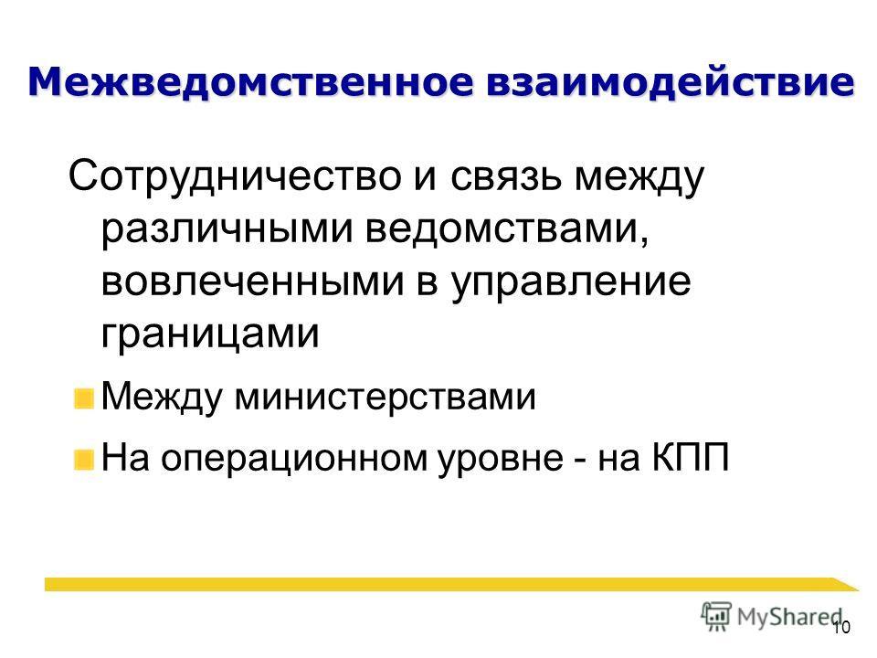 10 Межведомственное взаимодействие Сотрудничество и связь между различными ведомствами, вовлеченными в управление границами Между министерствами На операционном уровне - на КПП