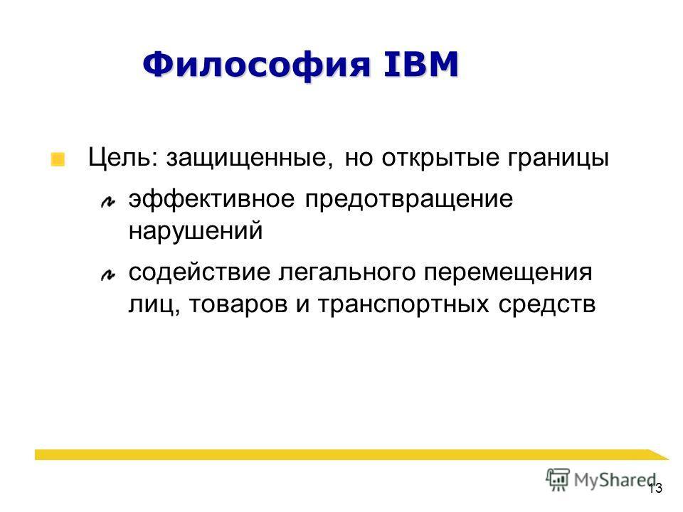 13 Философия IBM Цель: защищенные, но открытые границы эффективное предотвращение нарушений содействие легального перемещения лиц, товаров и транспортных средств