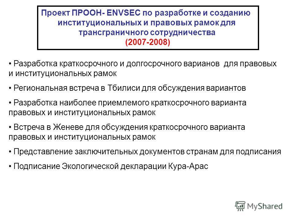 Проект ПРООН- ENVSEC по разработке и созданию институциональных и правовых рамок для трансграничного сотрудничества (2007-2008) Разработка краткосрочного и долгосрочного варианов для правовых и институциональных рамок Региональная встреча в Тбилиси д