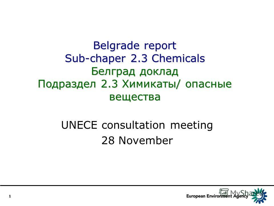 1 Belgrade report Sub-chaper 2.3 Chemicals Белград доклад Подраздел 2.3 Химикаты/ опасные вещества UNECE consultation meeting 28 November