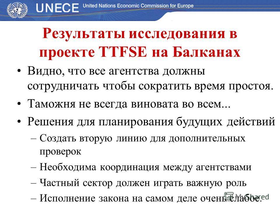 Результаты исследования в проекте TTFSE на Балканах Видно, что все агентства должны сотрудничать чтобы сократить время простоя. Таможня не всегда виновата во всем... Решения для планирования будущих действий –Создать вторую линию для дополнительных п