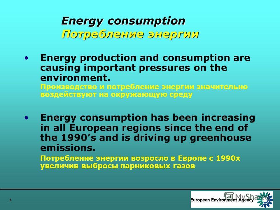 3 Energy consumption Потребление энергии Energy production and consumption are causing important pressures on the environment. Производство и потребление энергии значительно воздействуют на окружающую среду Energy consumption has been increasing in a