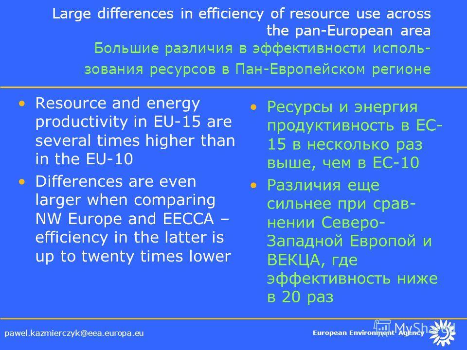 European Environment Agency pawel.kazmierczyk@eea.europa.eu Large differences in efficiency of resource use across the pan-European area Большие различия в эффективности исполь- зования ресурсов в Пан-Европейском регионе Resource and energy productiv