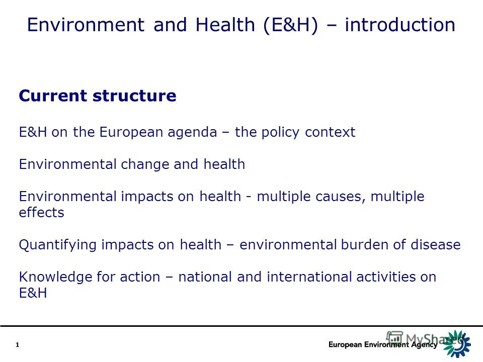 1 Environment and Health (E&H) – introduction Current structure E&H on the European agenda – the policy context Environmental change and health Environmental impacts on health - multiple causes, multiple effects Quantifying impacts on health – enviro