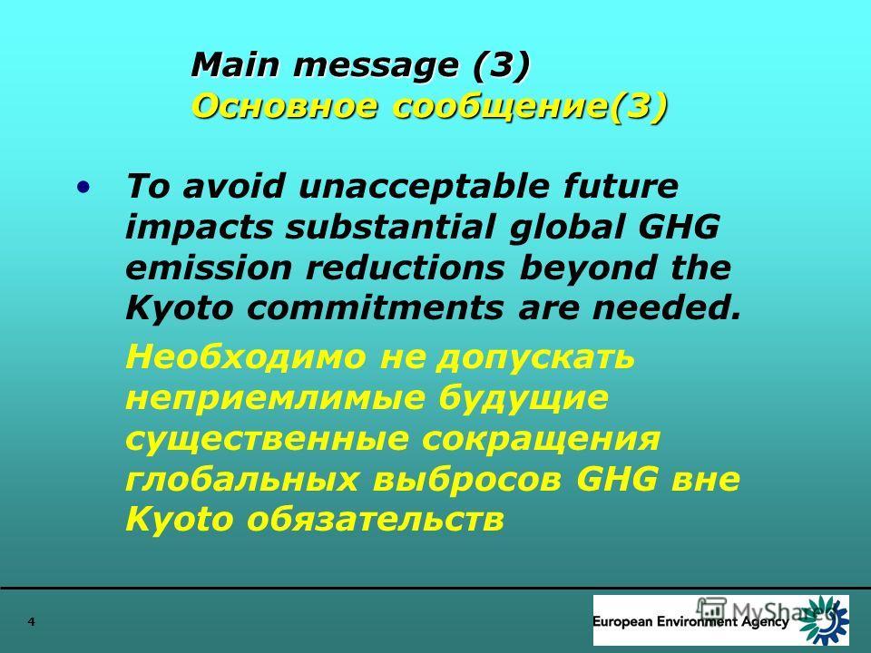 4 Main message (3) Основное сообщение(3) To avoid unacceptable future impacts substantial global GHG emission reductions beyond the Kyoto commitments are needed. Необходимо не допускать неприемлимые будущие существенные сокращения глобальных выбросов
