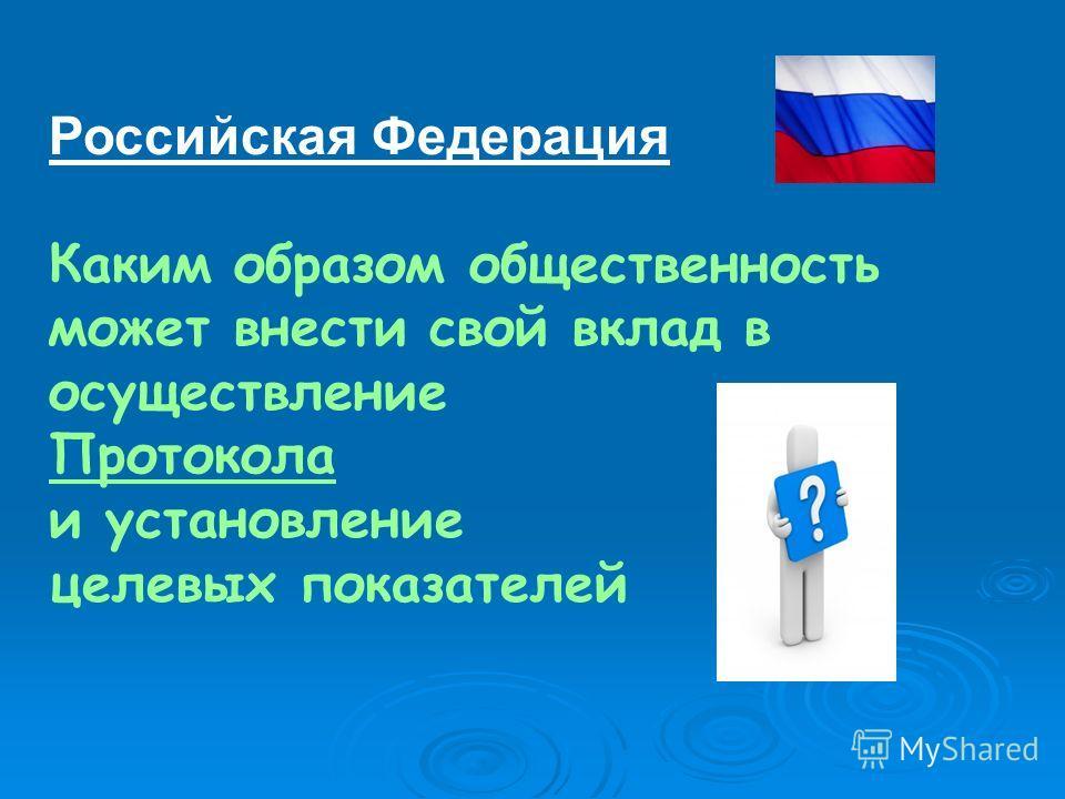 Российская Федерация Каким образом общественность может внести свой вклад в осуществление Протокола и установление целевых показателей