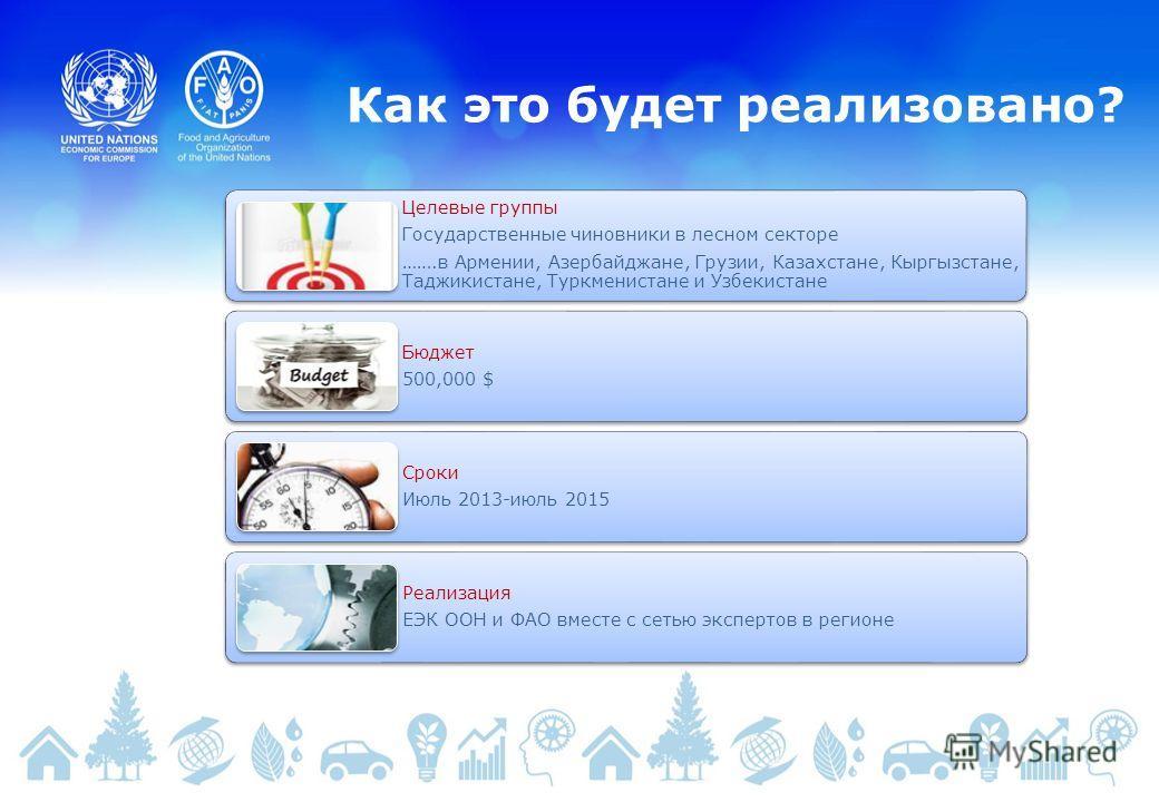 Как это будет реализовано? Целевые группы Государственные чиновники в лесном секторе …….в Армении, Азербайджане, Грузии, Казахстане, Кыргызстане, Таджикистане, Туркменистане и Узбекистане Бюджет 500,000 $ Сроки Июль 2013-июль 2015 Реализация ЕЭК ООН