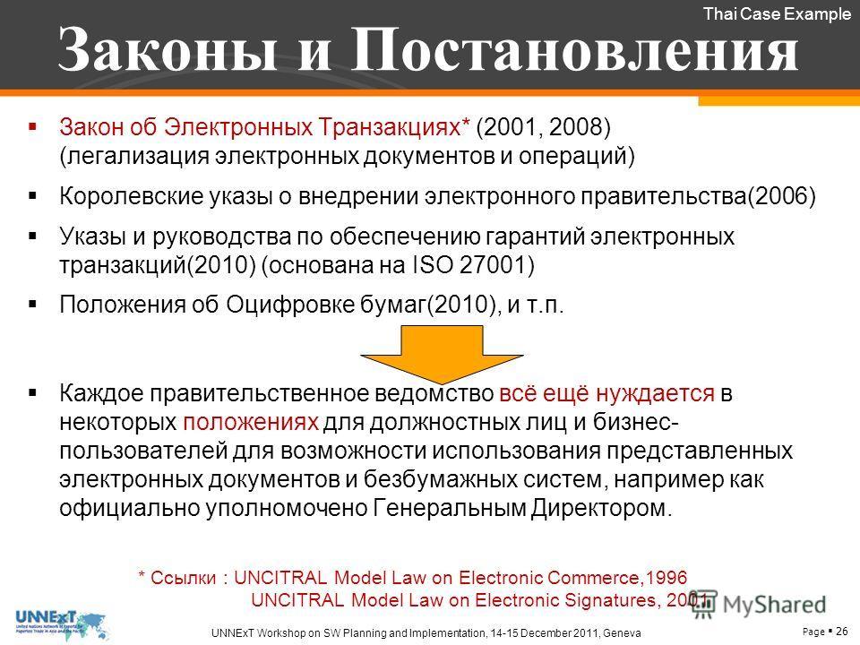 Page 26 UNNExT Workshop on SW Planning and Implementation, 14-15 December 2011, Geneva Законы и Постановления Закон об Электронных Транзакциях* (2001, 2008) (легализация электронных документов и операций) Королевские указы о внедрении электронного пр
