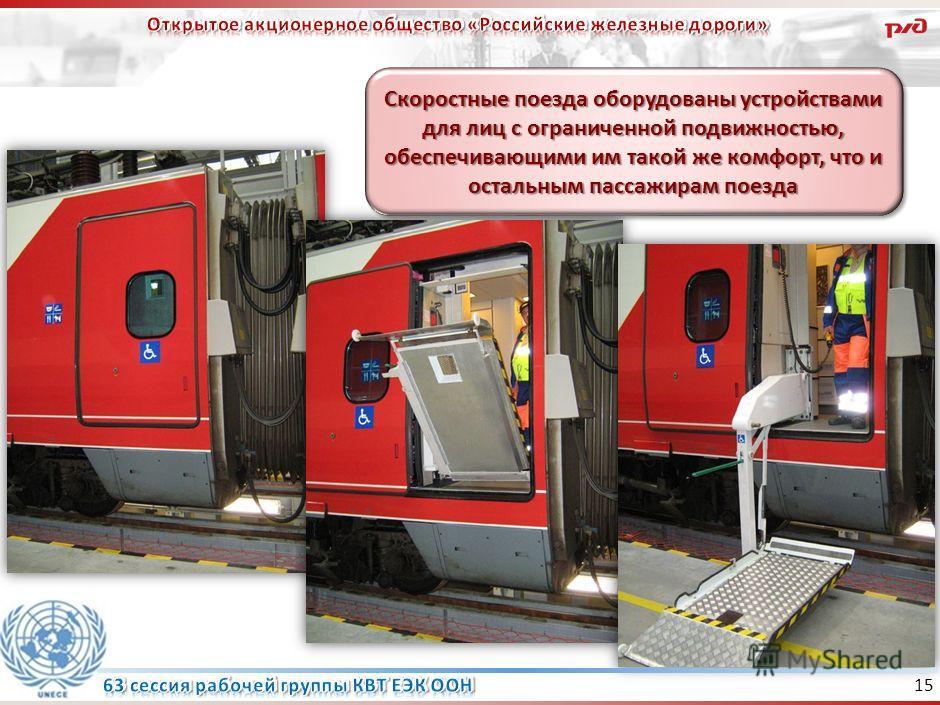 14 Пополнение парка специализированных вагонов в 2008-2010 гг. В настоящее время на сети железных дорог курсируют 308 вагонов, оборудованных специализированными купе и подъемниками.