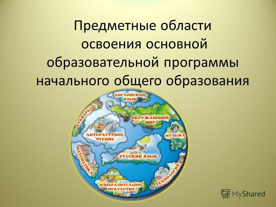 Предметные области освоения основной образовательной программы начального общего образования
