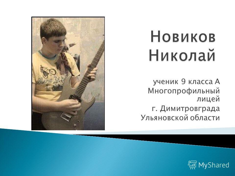 ученик 9 класса А Многопрофильный лицей г. Димитровграда Ульяновской области