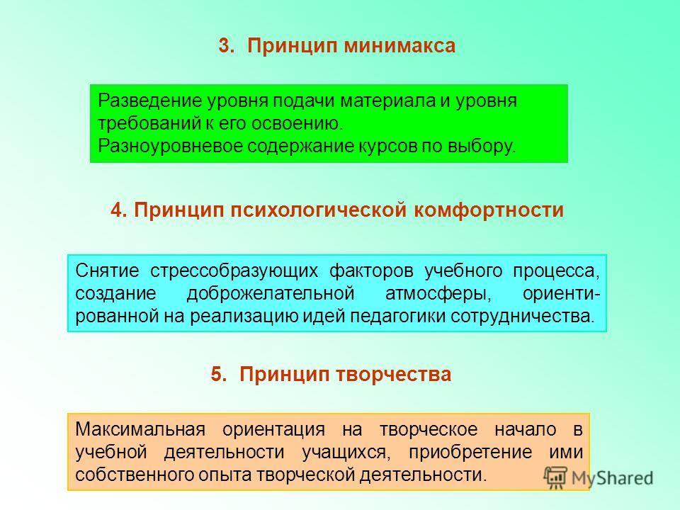 3. Принцип минимакса Разведение уровня подачи материала и уровня требований к его освоению. Разноуровневое содержание курсов по выбору. 4. Принцип психологической комфортности Снятие стрессобразующих факторов учебного процесса, создание доброжелатель