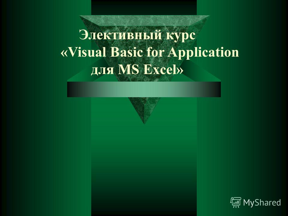 Элективный курс «Visual Basic for Application для MS Excel»